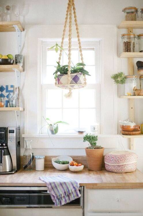 Kitchen With Hanging Plants
