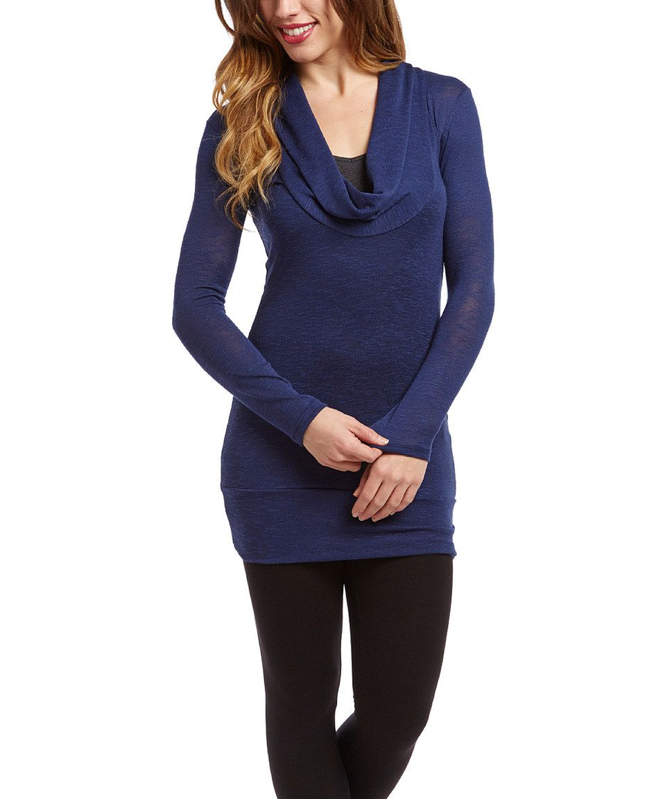Another great find on #zulily! Casa Lee Deep Blue Cowl Neck Tunic by Casa Lee #zulilyfinds