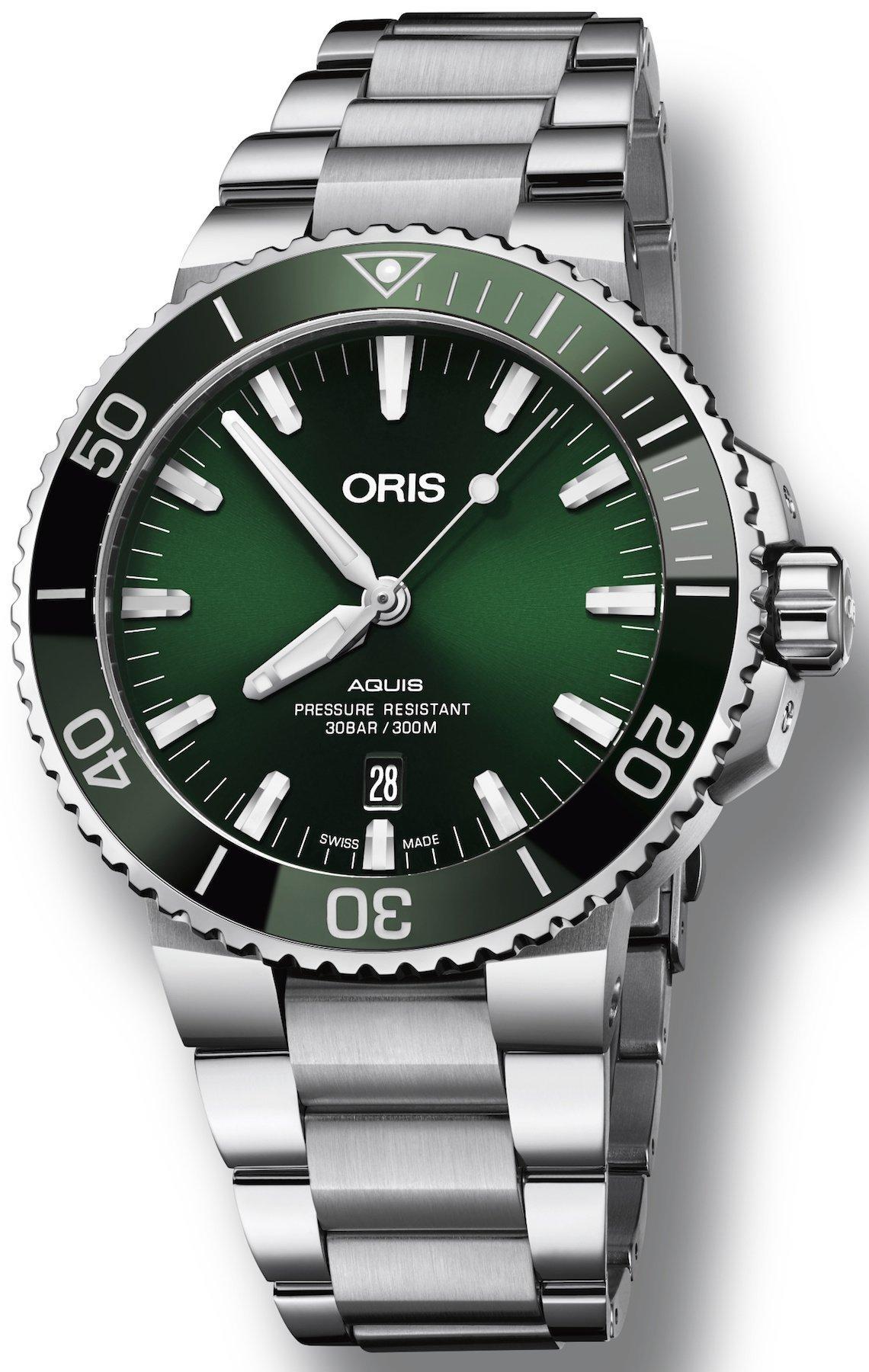 f5731a663da Oris Aquis Date Green Dial Stainless Steel Band Men s Watch 01 733 7730  4157-07 8 ...