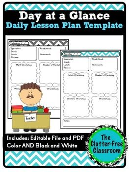 Day at a Glance Lesson Planner for Your Teacher Binder