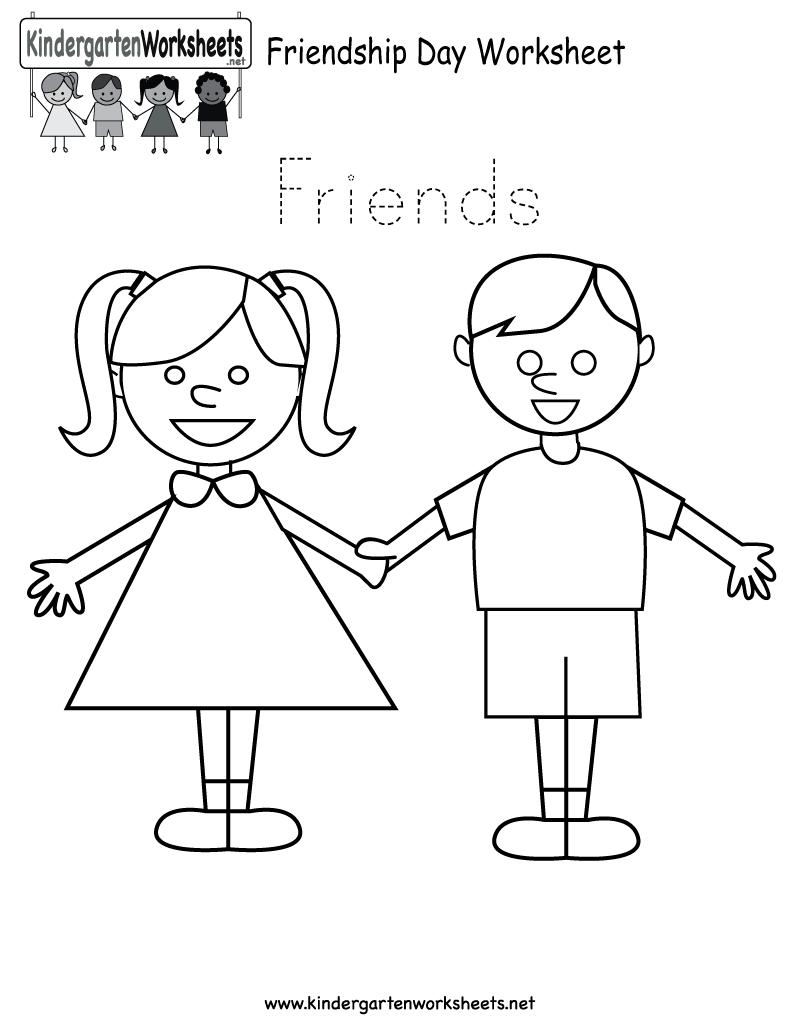 Free Printable Friendship Day Worksheet for Kindergarten