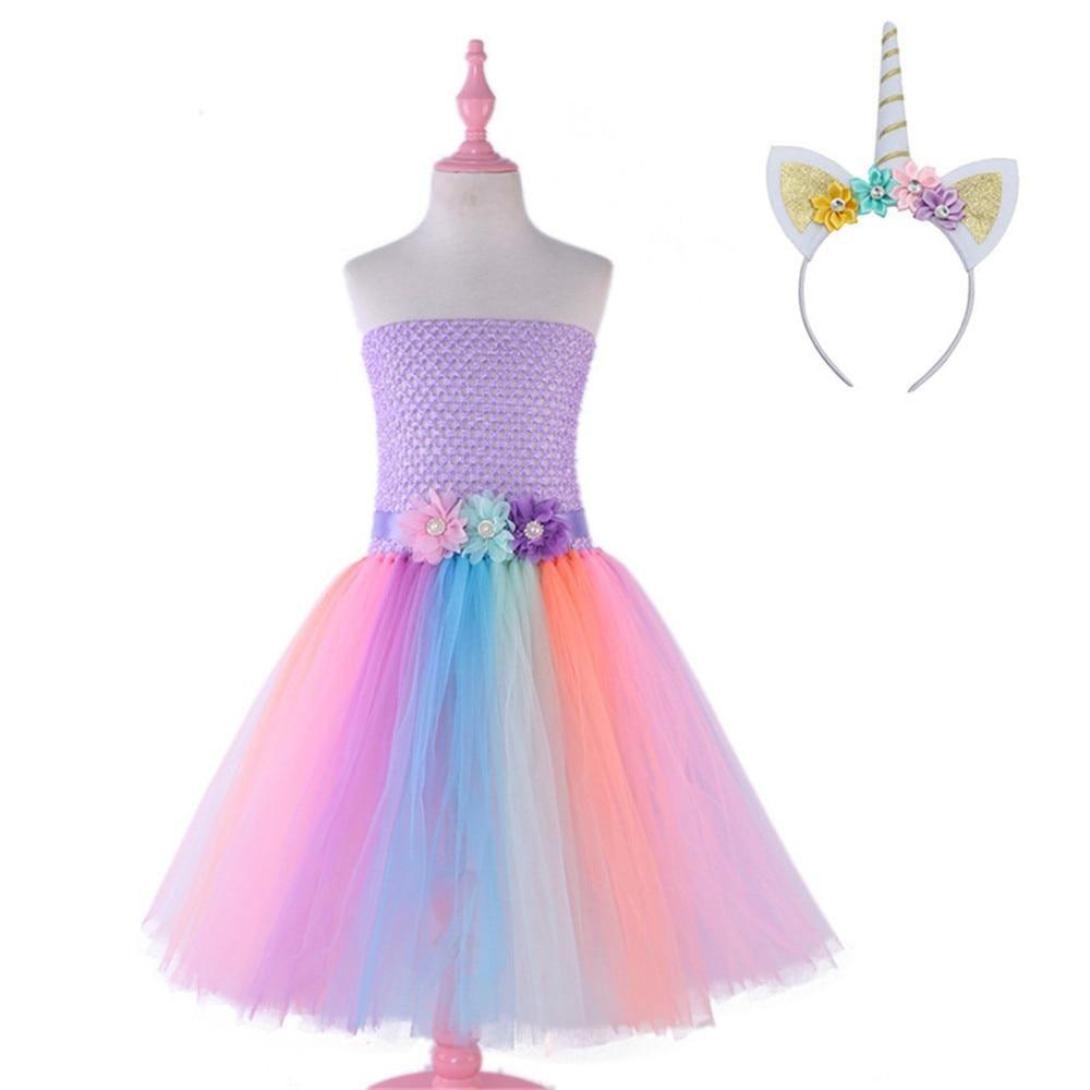 Child Kid Girl Unicorn Princess Pastel Rainbow Tutu Dress Halloween Costume Set
