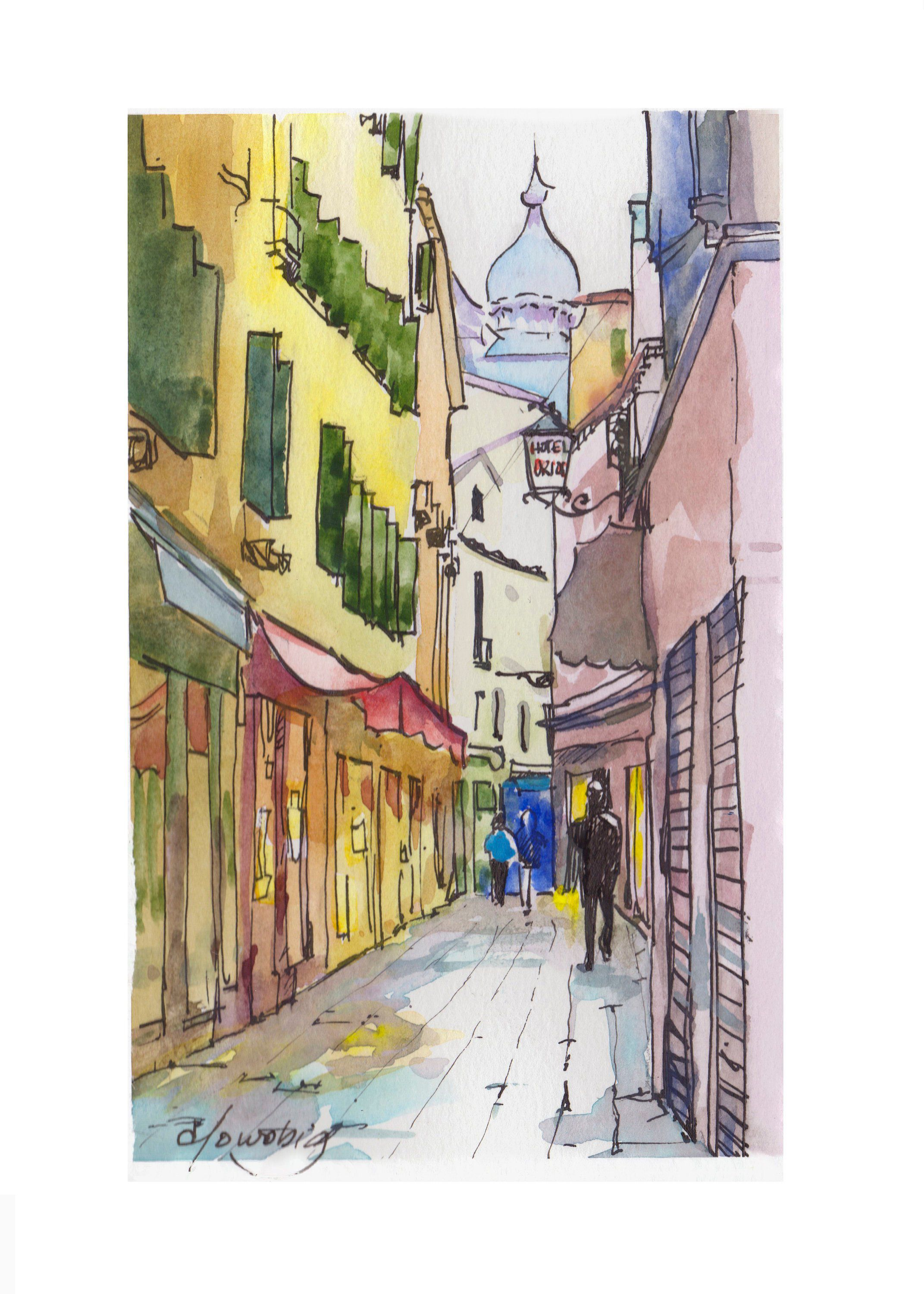 Venice Narrow Alley Watercolor Travel Sketch Italy Vacation By Elo