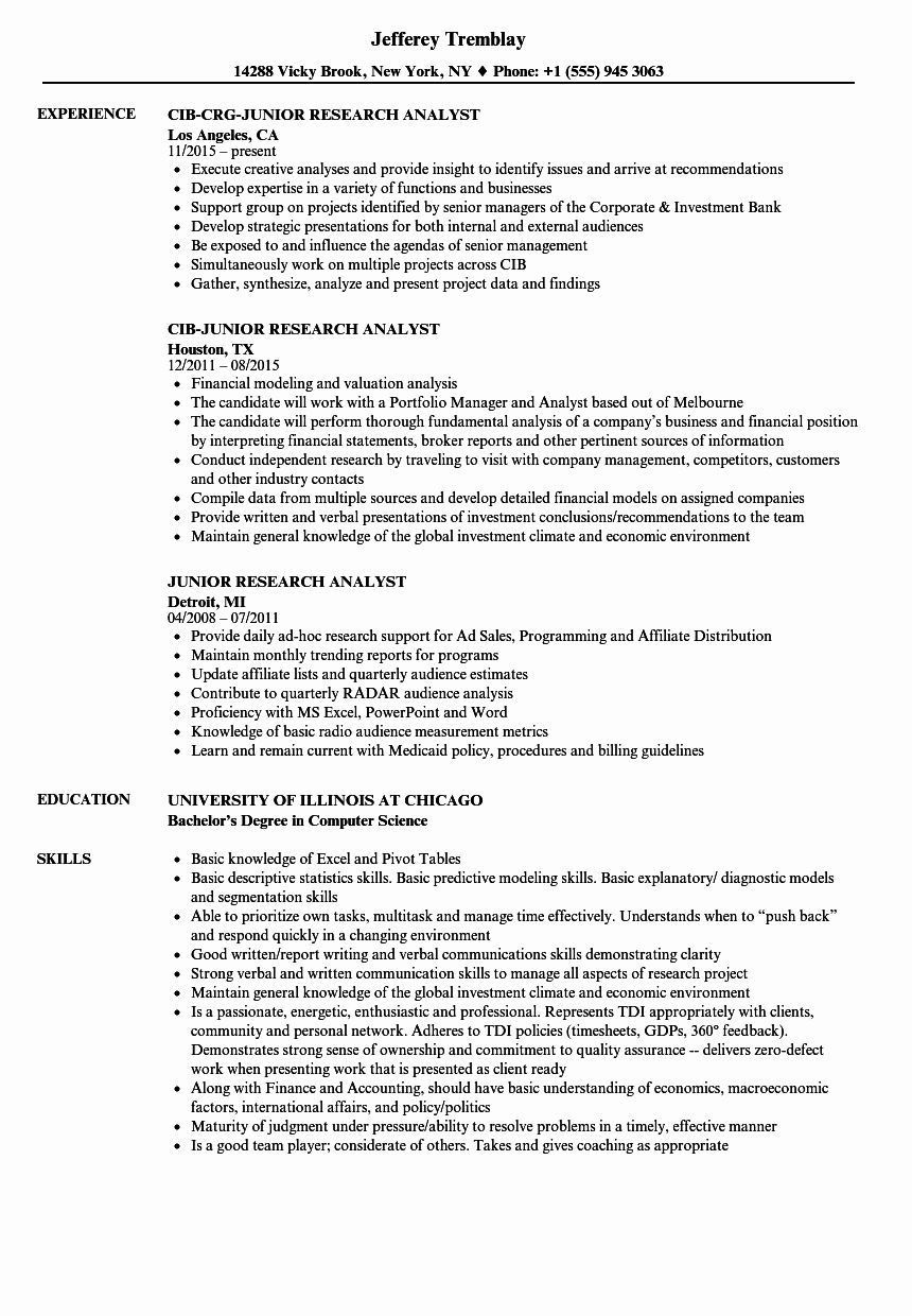 Equity Research Analyst Resume Beautiful Junior Research Analyst Resume Samples Analyst Job Resume Samples Resume