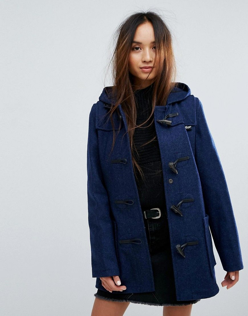Gloverall Mid Slim Wool Blend Duffle Coat Blue | Shop the