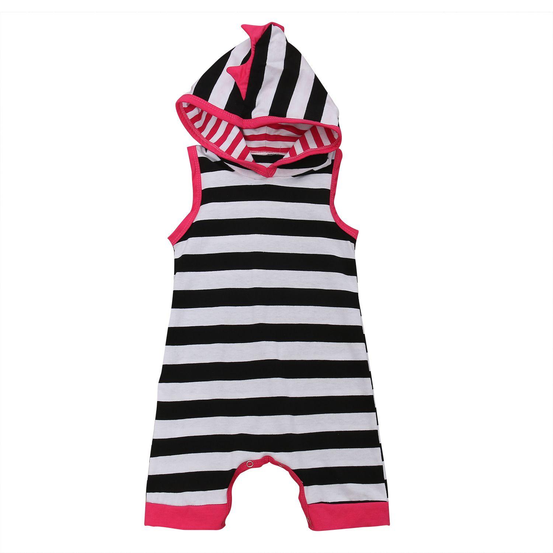 to Buy 2017 Super Cute Babies Hooded Stripes Romper Summer