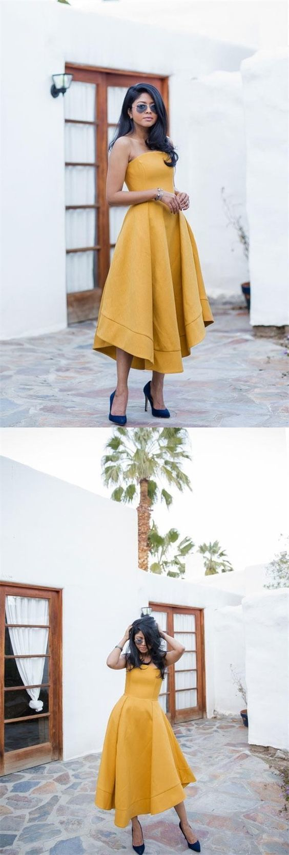 Aline strapless asymmetrical yellow homecomingprom dress