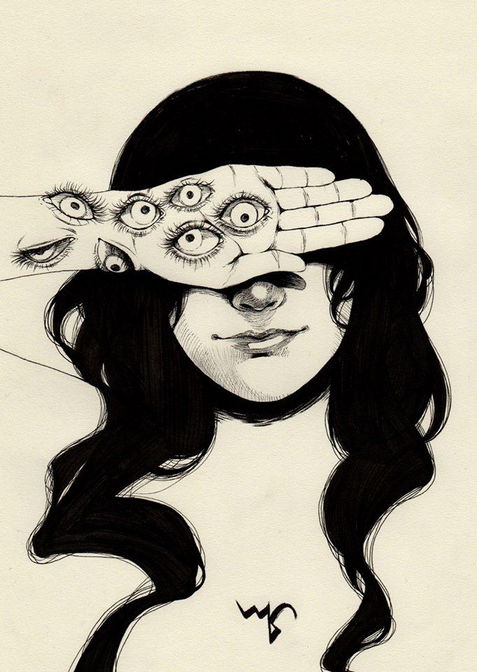 I know you're lying. I don't need eyes for that. | Horror art, Art, Drawings