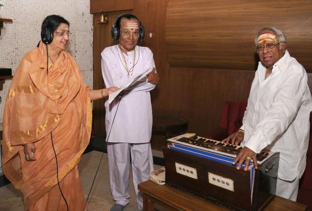 Musical Minds: T. M. Soundararajan with singer P. Susheela and music director M.S. Viswanathan at a recording. | Music director, Singer, Musician