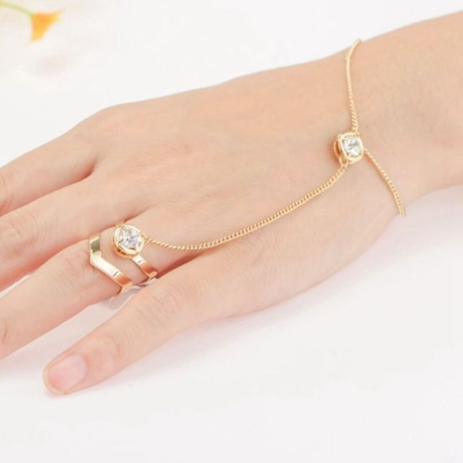 Hot fashion punk jewelry women lady rhinestone crystal gold plated