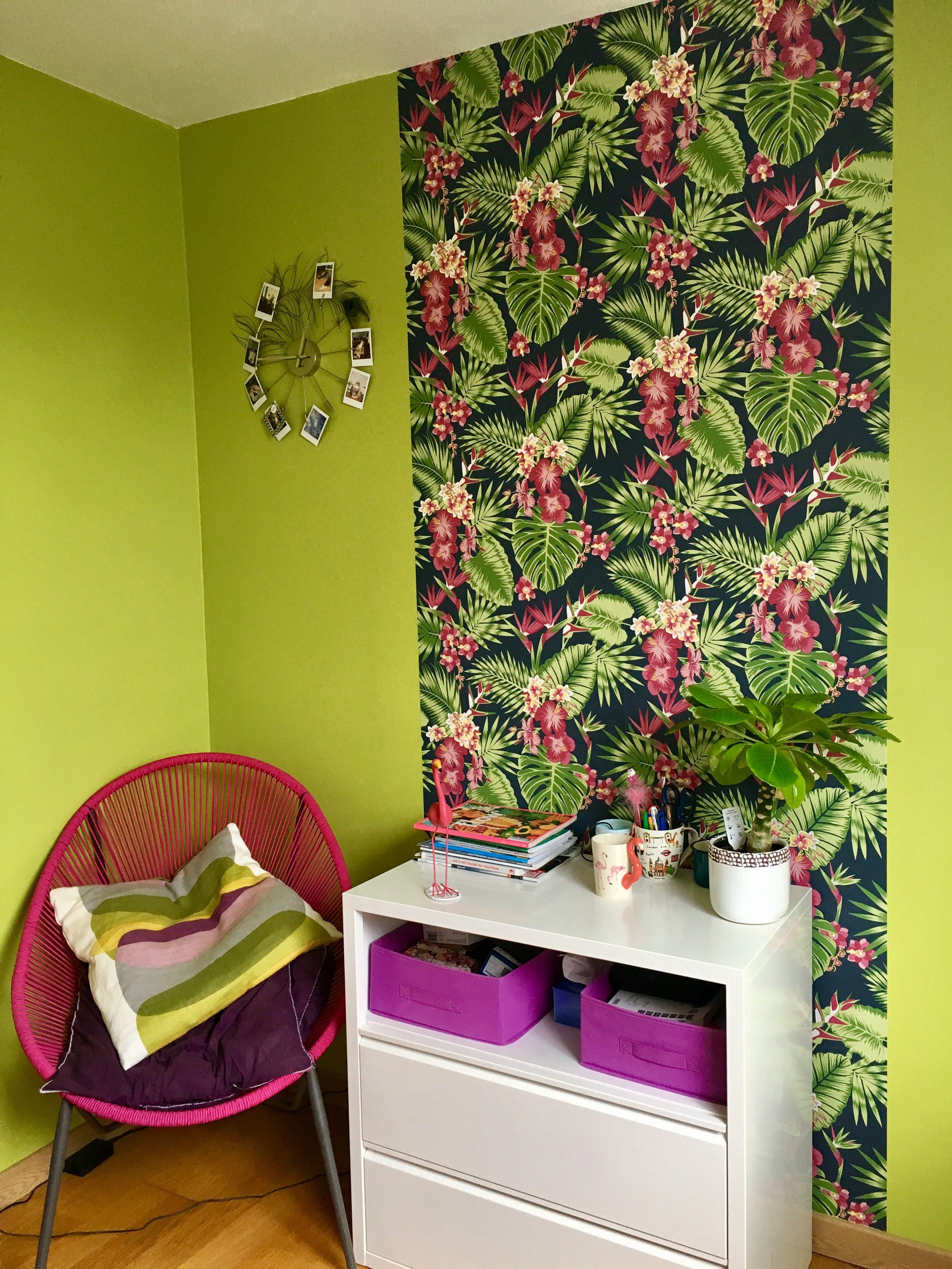 Le Papier Peint Est Il Recyclable mon beau bureau..!! peinture vert bambou et papier peint