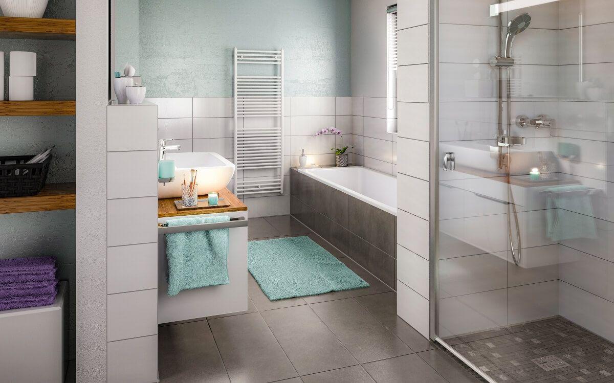 Badezimmer Design modern mit Fliesen grau & weiß, begehbare Dusche ...