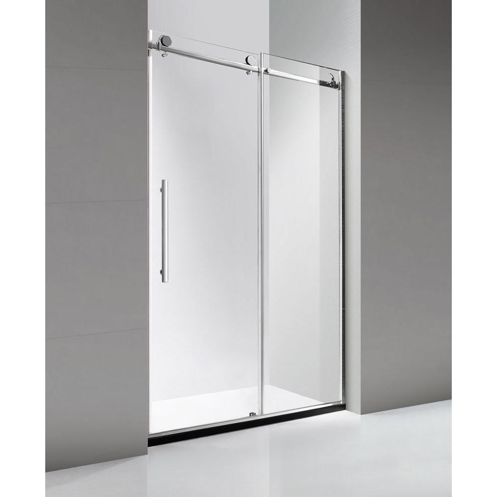 luxury frameless sliding shower door in stainless steel