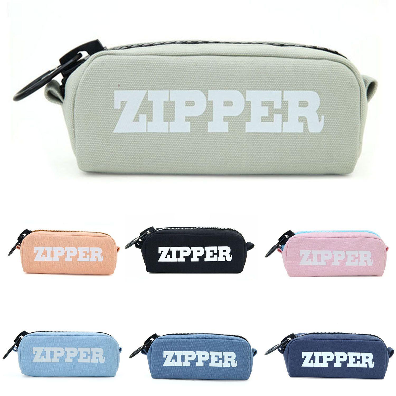 367Aud  Big Zipper Pencil Bag Canvas Cases School Pencil