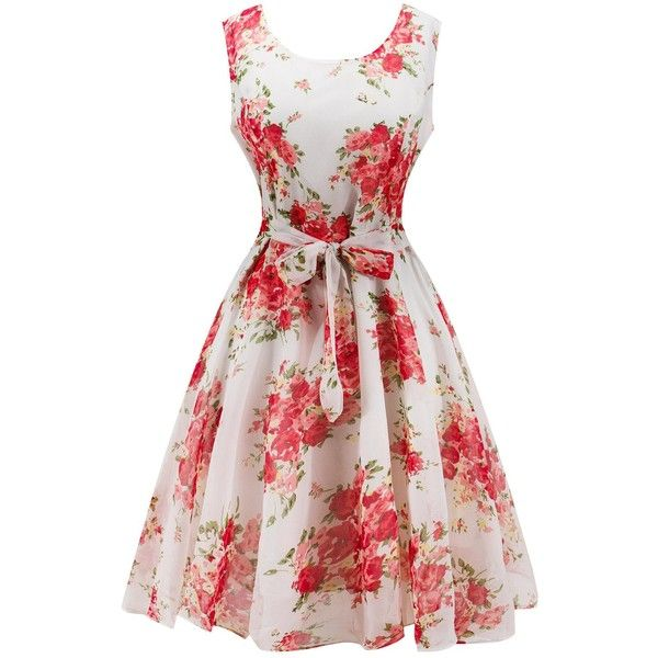 Retro Belted High Waisted Flowers Dress (1,080 INR) ❤ liked on ...