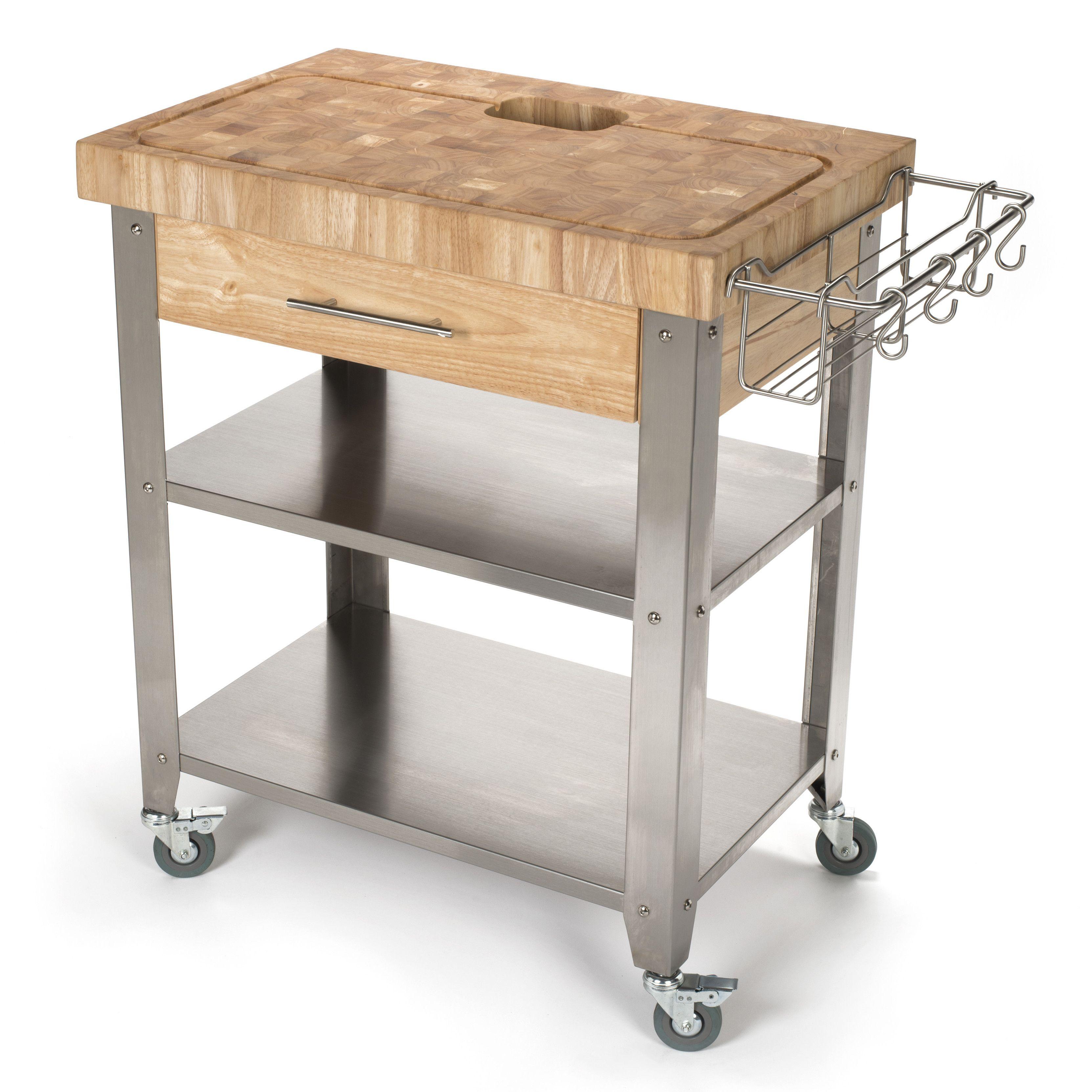 Captivating Chris U0026 Chris Pro Stadium Kitchen Cart With Butcher Block Top