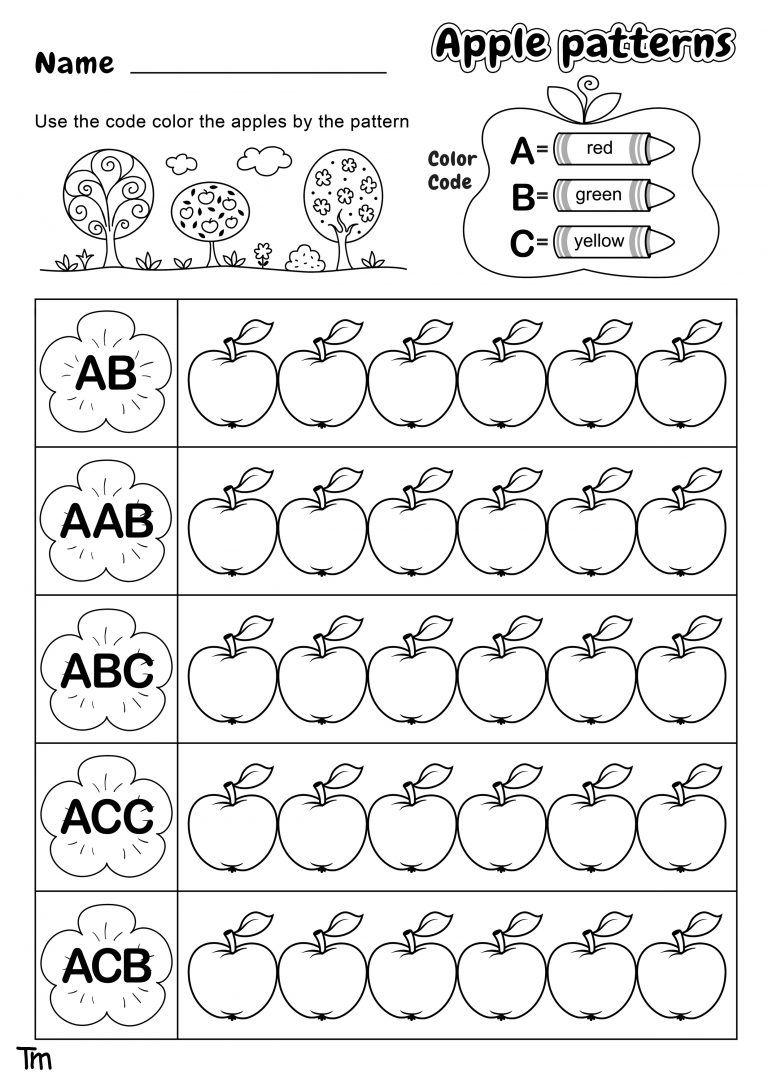 Apples Where They Come From Preschool Theme Worksheets Teachersmag Com Pattern Worksheet Pattern Worksheets For Kindergarten Math Patterns