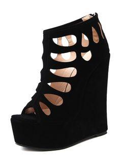2ed04c2688874 Tacco alto nero della piattaforma dei sandali sexy neri tagliato fuori i  pattini del sandalo di Stiletto della punta del peep per le donne