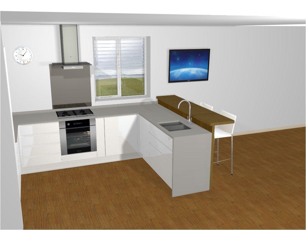 White Gloss Handleless Segreto Range From Mereway Kitchens. Corian Worktops And Oak Breakfast photo - 1