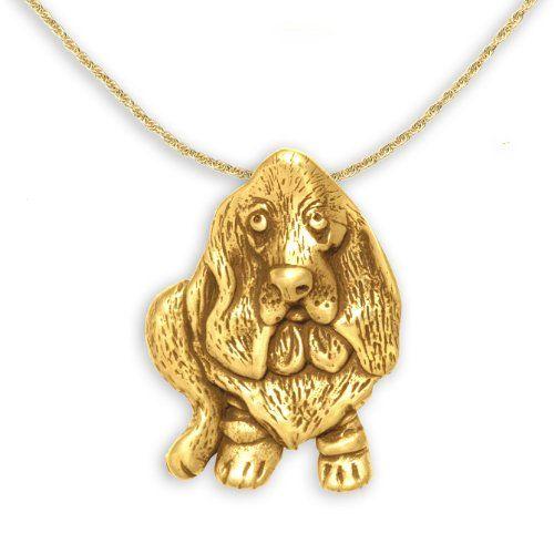 14k gold dog pendant #bassetthoung
