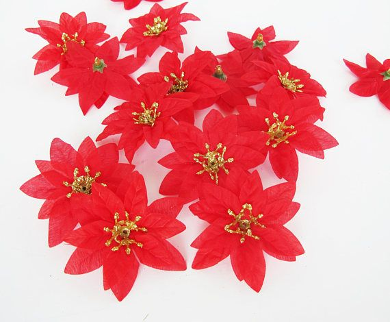 Red Poinsettias 36 Artificial Mini Flowers Red Color Flower Winter Flowers Artificial Flowers Poinsettia