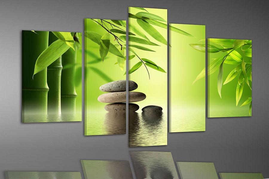 bambus und steine im wasser farbe 1 leinwanddruck zen. Black Bedroom Furniture Sets. Home Design Ideas