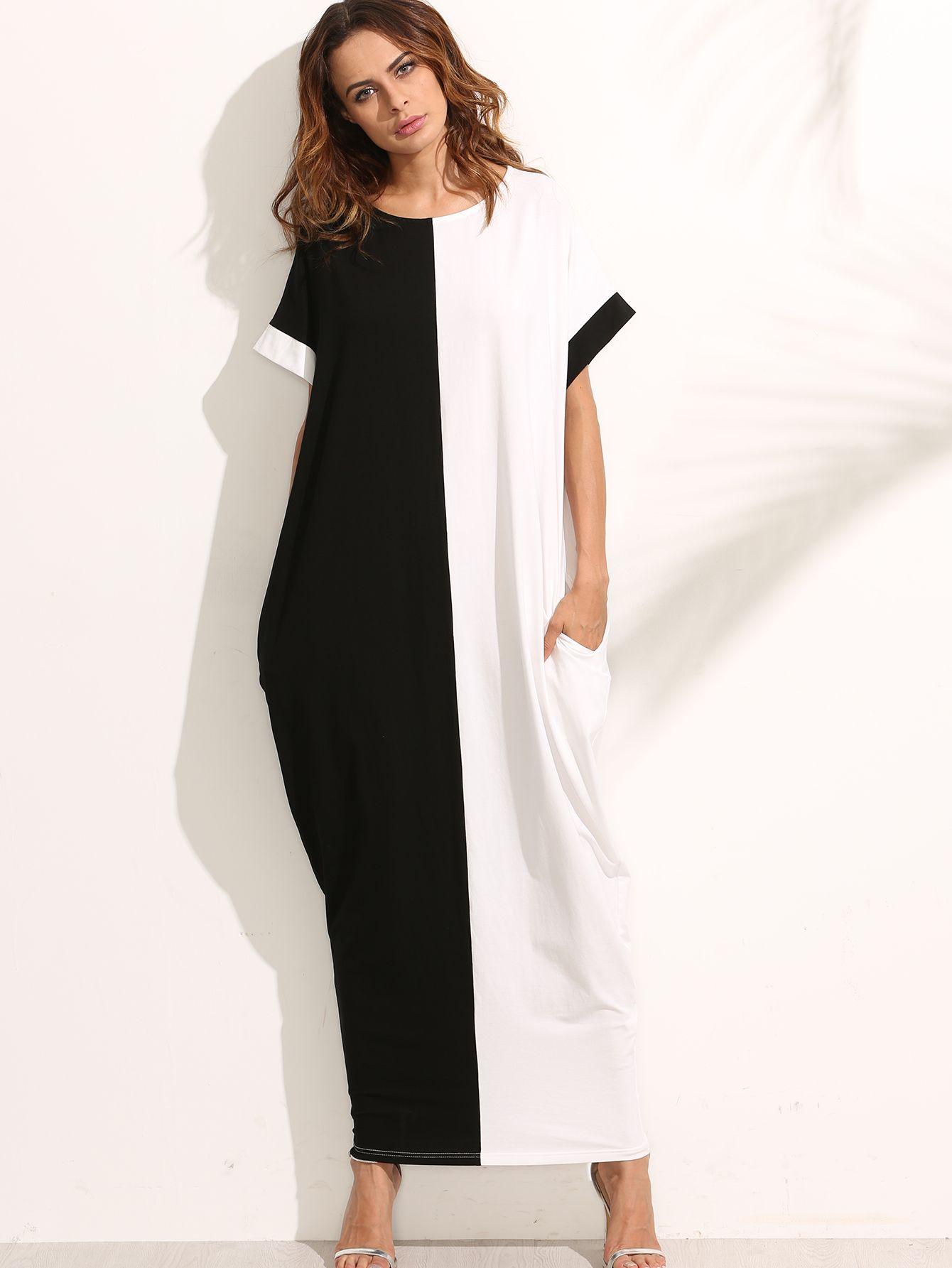 Contrast longline kaftan dress pocket shorts dress online and