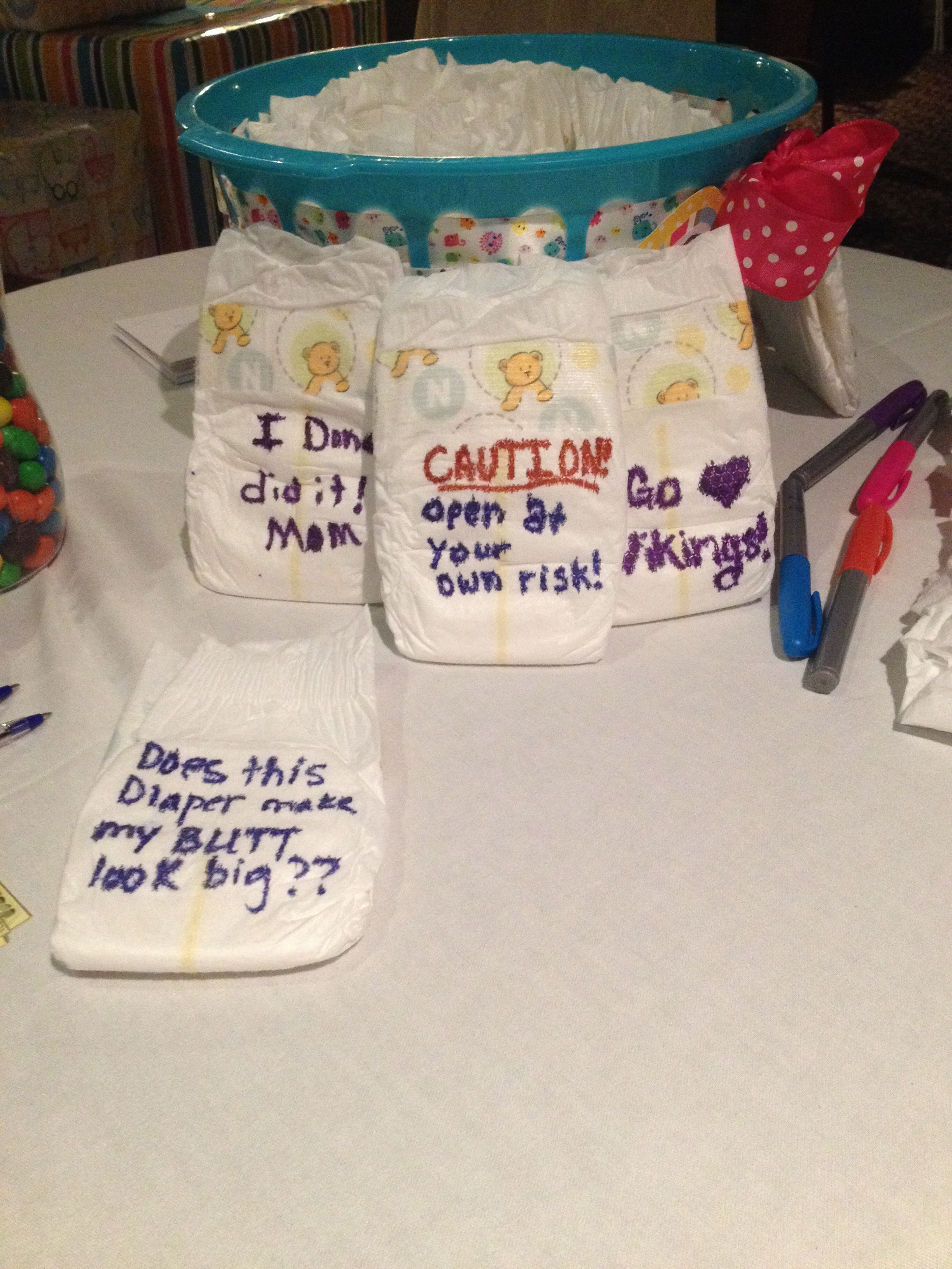 Diaper Messages The Baby Can Wear It And Have A Funny Message On It Babyshower Cute Baby Diaper Messages Funny Baby Shower Games Modern Baby Shower Games