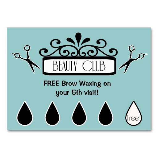 Salon Loyalty Punch Cards beauty club Salons, Business cards and - club card design