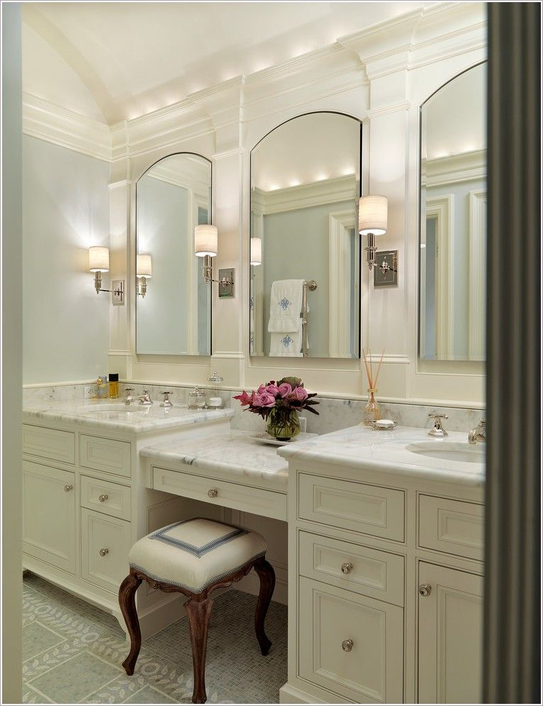 Image Result For Double Sink With Makeup Vanity Bathroom Remodel Master Small Bathroom Remodel Traditional Bathroom