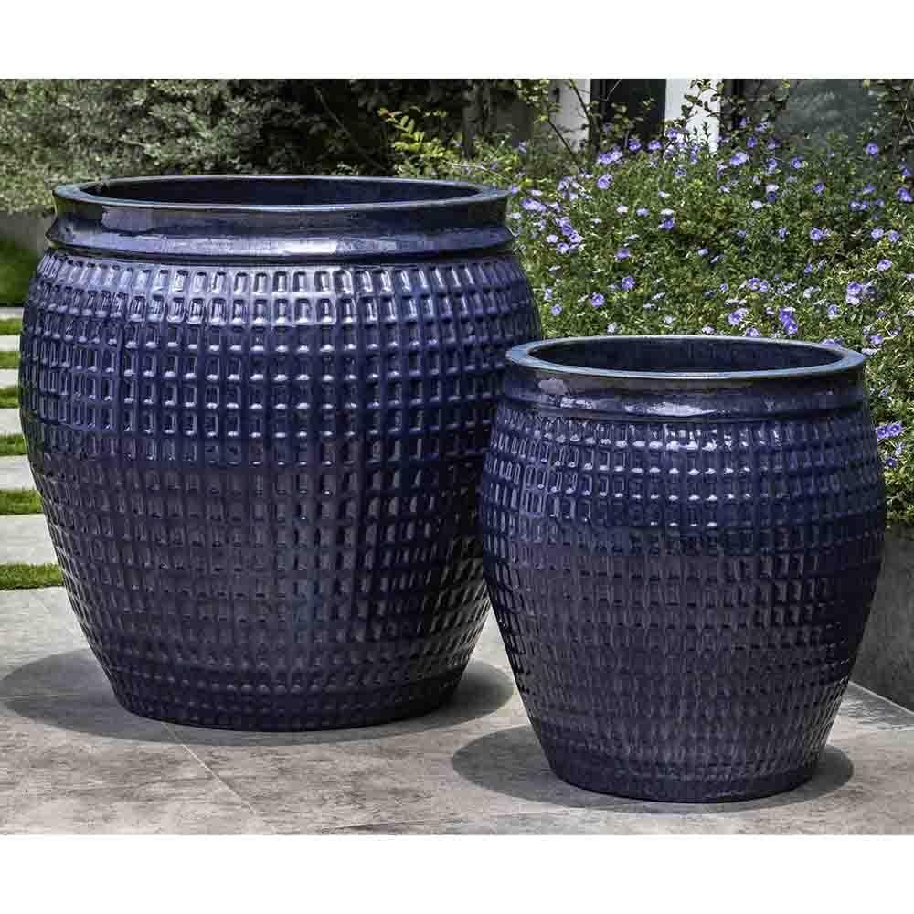 Large Mediterranean Blue Gridded Terra Cotta Planters Set Of 2 Large Ceramic Planters Terracotta Pots Ceramic Planters