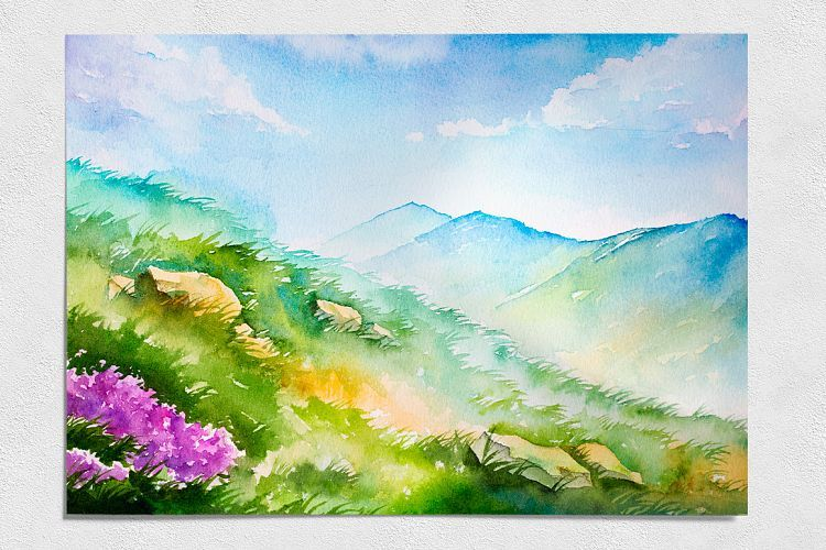 Spring Landscapes Watercolor 16169 Illustrations Design Bundles Spring Landscape Landscape Sketch Spring Scenery