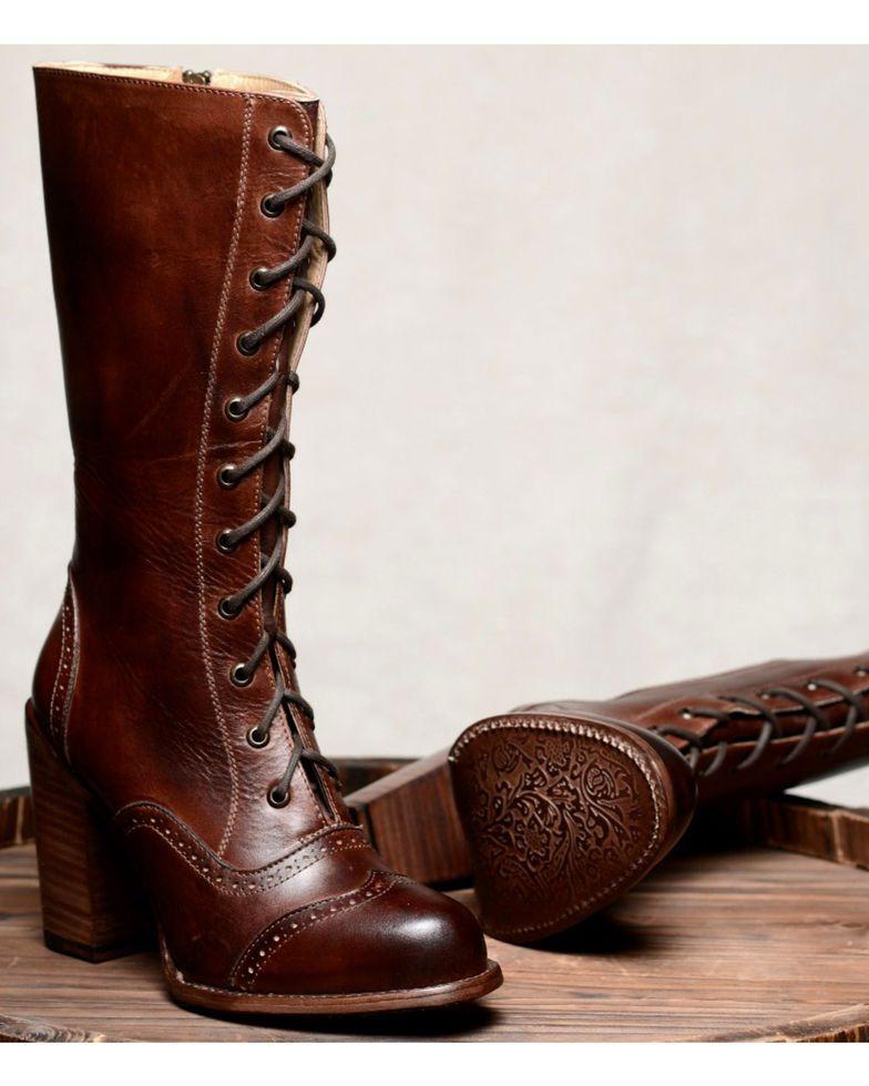 a0aa58bef618 Oak Tree Farm Ariana Teak Brown Boots - Round Toe in 2019