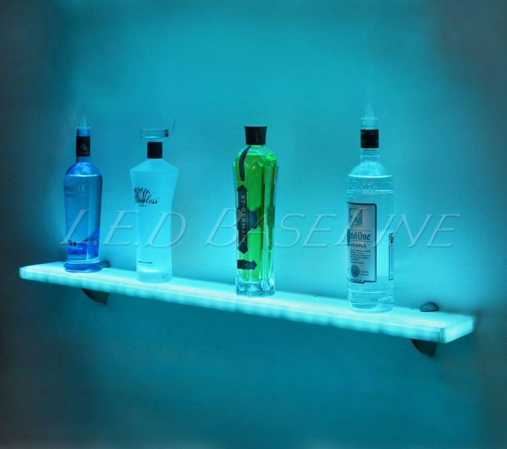 "44"" LED Lighted Wall Mounted Floating Shelf- Liquor Bottle - Glass ..."