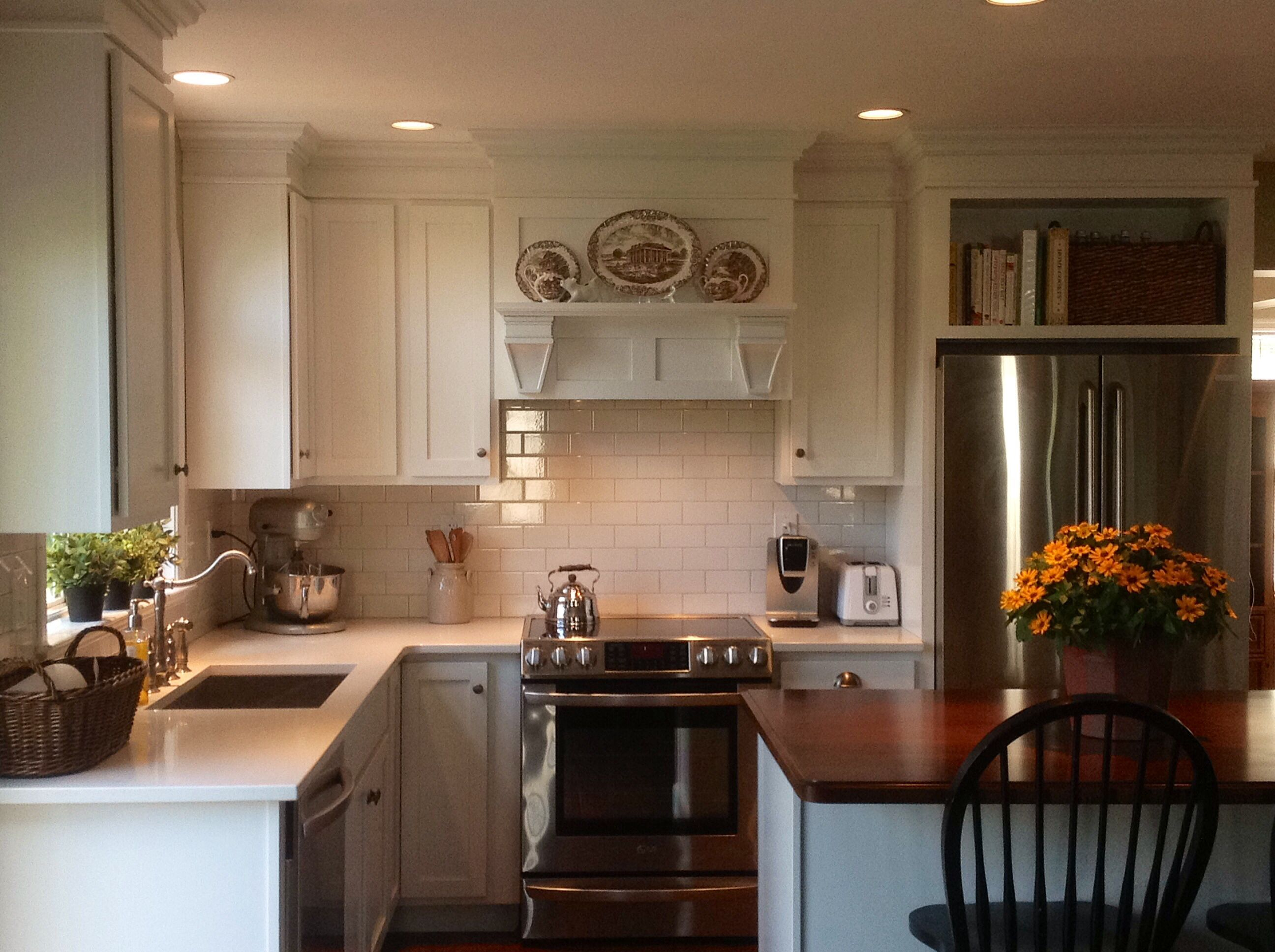 My New Kitchen Subway Tile White Shaker Style Cabinets Farmhouse Sink Caesarstone Frosty