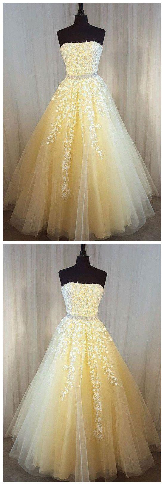Aline prom dress strapless aline applique tulle daffodil prom