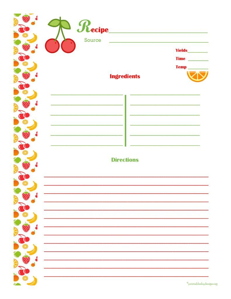 Free Recipe Card Templates For Word Delectable Cherryorangerecipecardfullpage  Recipe Cards  Pinterest .