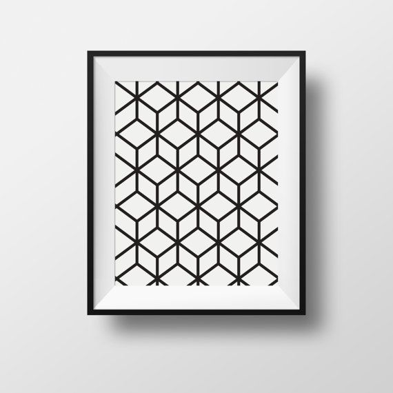 Affiche Wall Art Cubique Cubic Black And White Noir Et Blanc Cadre Frame Ikea Ribba A3 A4 Printable Wall Art Modern Wall Artwork Black And White Abstract