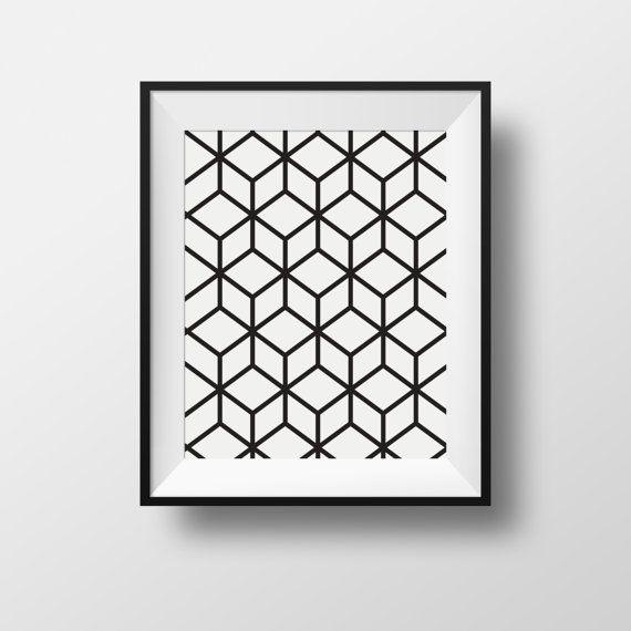Affiche Wall Art Cubique Cubic Black And White Noir Et Blanc