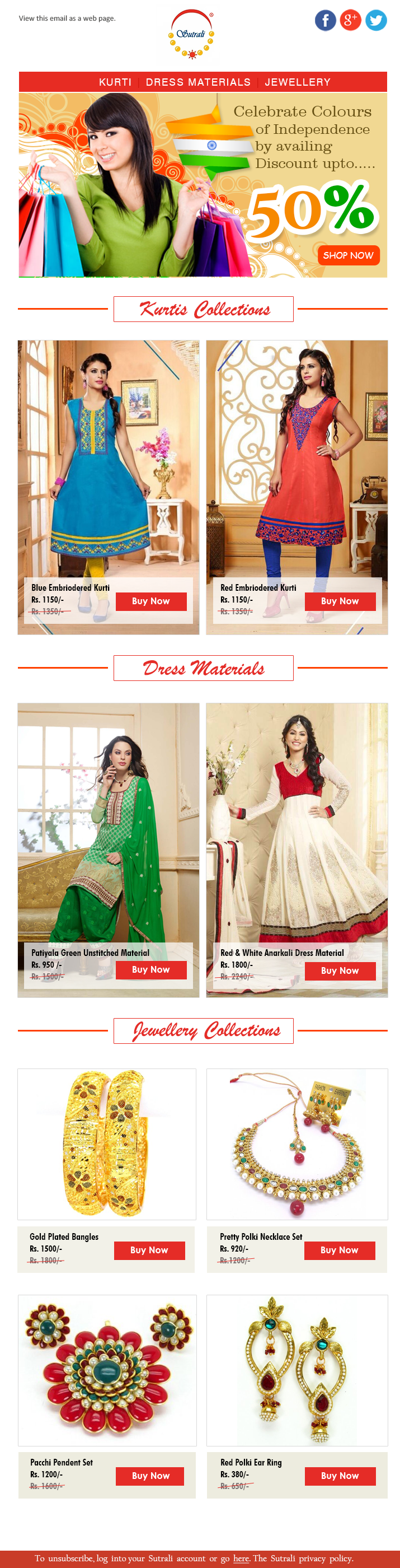 Emailer design for Sutrali Fashions