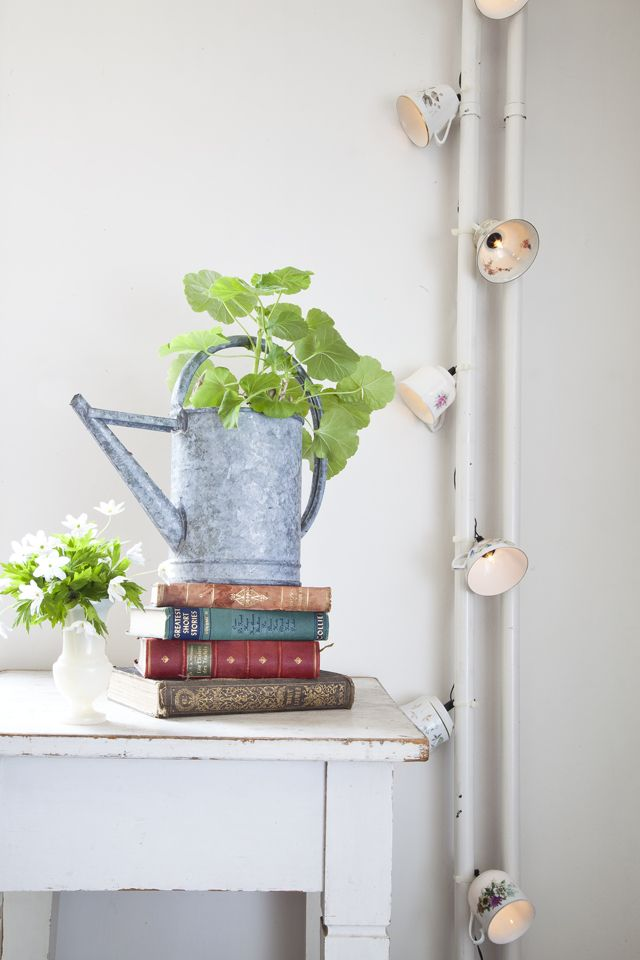 DIY tutorial   fairy lights with vintage porcellain coffee cups