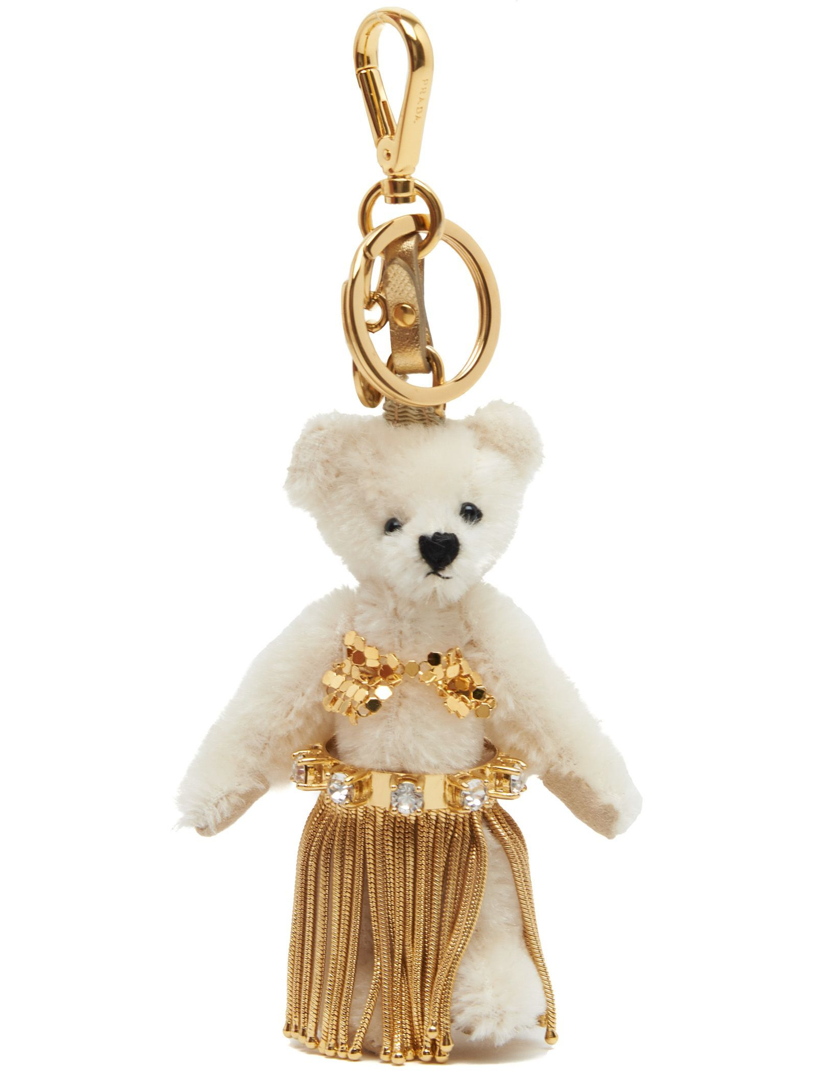 6919e2f8feee Keyring From Prada  Polyester  leia  Teddy Bear Keyring With Gold Details  And Swarowsky