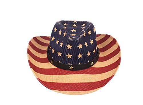 f9be89cde76 USA American Flag Western Straw Cowboy Hat Stars in 2018