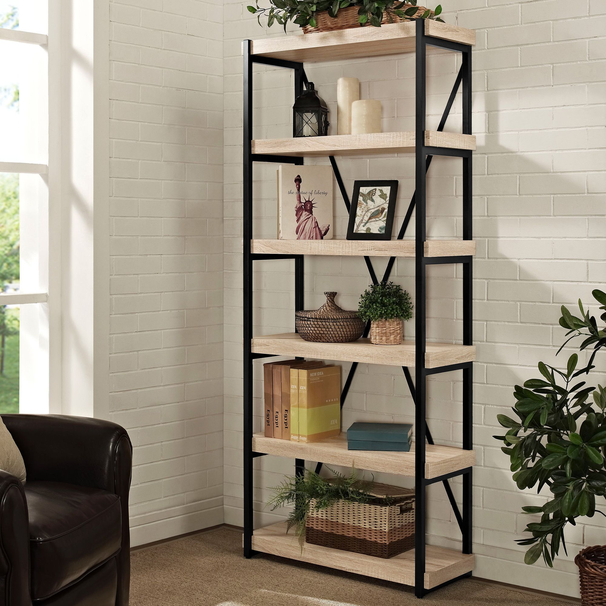 The Denver 6 Shelf Bookcase Incorporates Thick Stock Shelves Inset Into