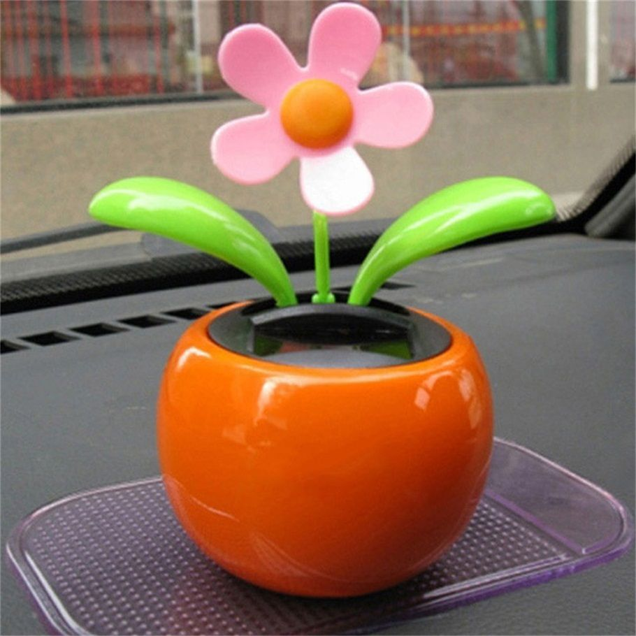 Home Decorating Solar Power Flower Plants Moving Dancing Flowerpot Swing Solar Car Toy Gift Flower Toy Car Decor Apple Flowers