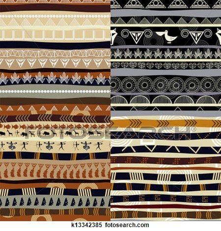 Satz Von Stammes Primitiv Afrikanisch Muster Clipart K13342385 Afrikanische Muster Afrikanisch Clipart