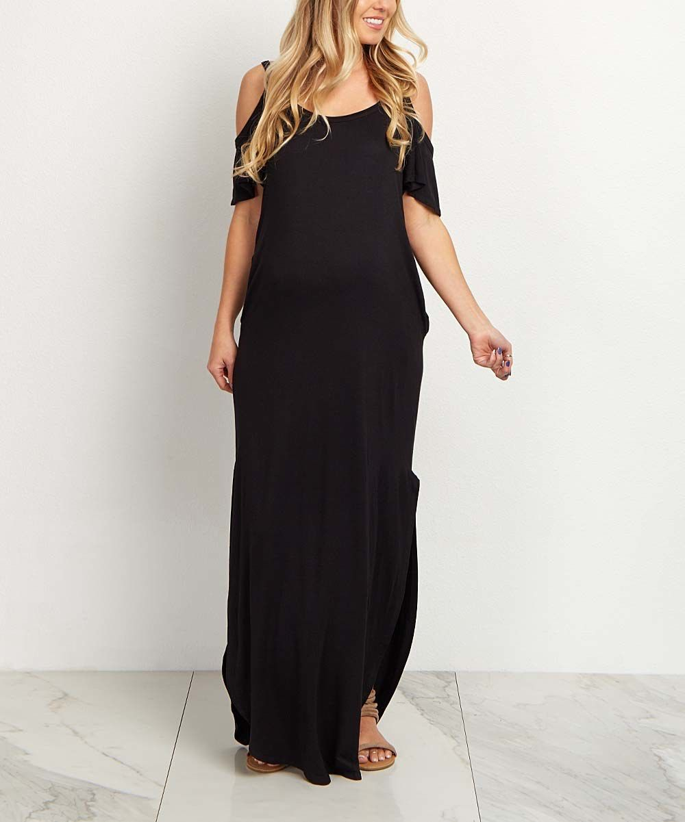 2d9904ecaa4 Look at this PinkBlush Black Cold Shoulder Maternity Maxi Dress on  zulily  today!