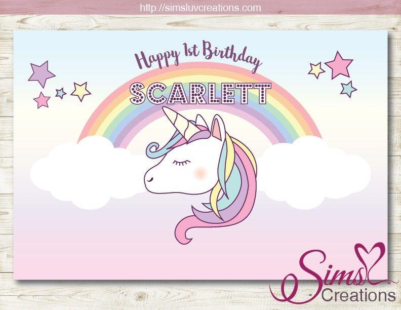 Unicorn Birthday Backdrop Unicorn Birthday Poster Unicorn Birthday Sign Printable Unicorn Background File Rainbow Unicorn Banner