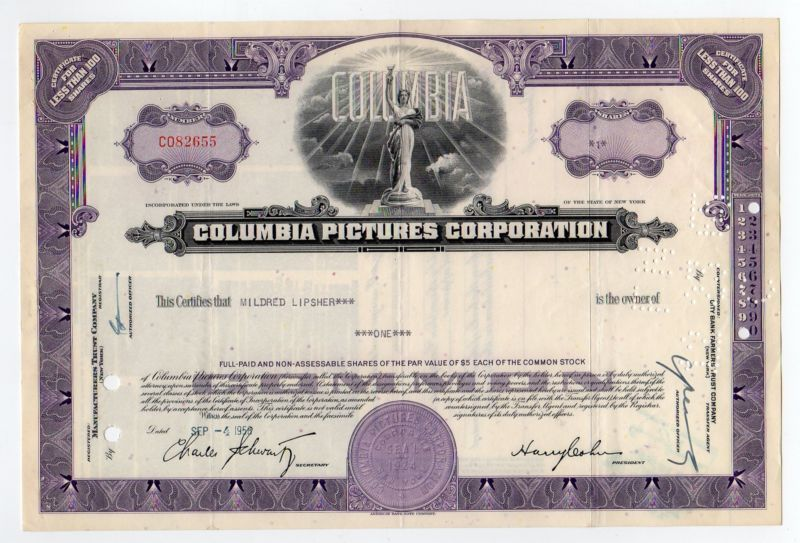 Collecters Item 1958 Columbia Pictures Corporation Stock Certificate Stock Certificates Columbia Pictures Pictures