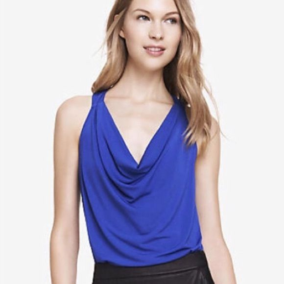 Express Droop Neck Top Remember.. Cover photos taken are in complete natural light to best represent the true coloring.   ▫️Colors - royal blue ▫️Size - medium  ▫️Style - stretchy scoop droop neck sleeveless top  ▫️Condition - good clean no rips  What to Wear?! Style with a black high waisted skirt and black pumps. A simple handbag would match great.   Bundle for 20% Off  Submit offers through offer button  Ships fast!  Express Tops